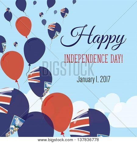 Independence Day Flat Greeting Card. Falkland Islands (malvinas) Independence Day. Falkland Islander