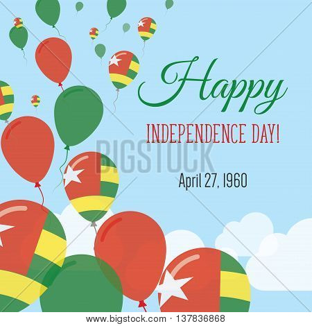 Independence Day Flat Greeting Card. Togo Independence Day. Togolese Flag Balloons Patriotic Poster.