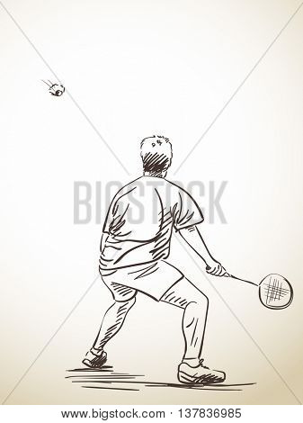 Sketch of badminton player, Hand drawn vector illustration