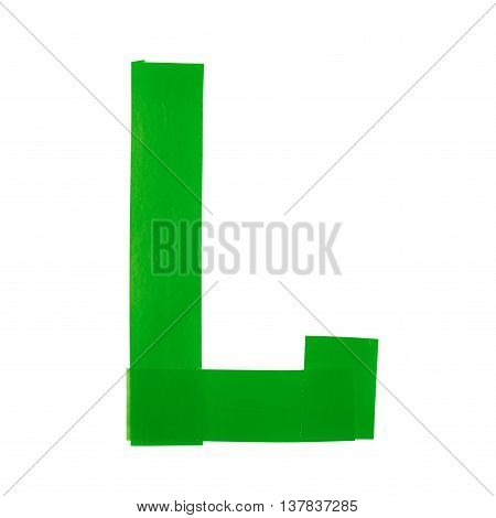 Letter L symbol made of insulating tape pieces, isolated over the white background