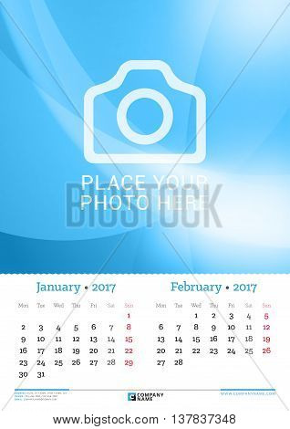 Wall Monthly Calendar For 2017 Year. 2 Months On The Page. January And February. Vector Design Print