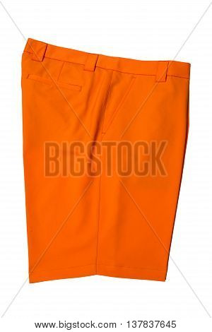 Orange short pants trousers for man or woman on white background