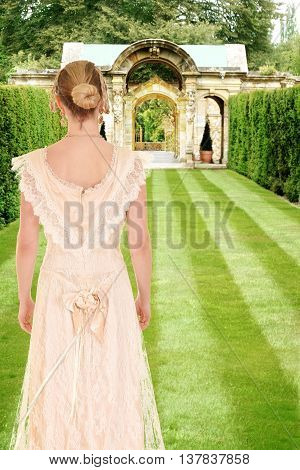 portrait of Victorian woman in formal garden
