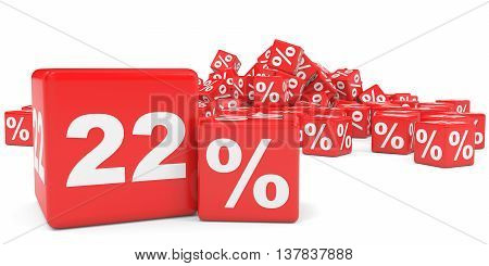 Red Sale Cubes. Twenty Two Percent Discount.