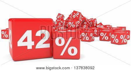 Red Sale Cubes. Forty Two Percent Discount.