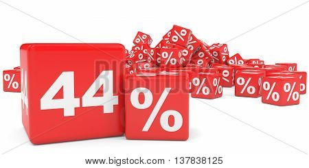 Red Sale Cubes. Forty Four Percent Discount.