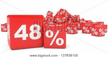 Red Sale Cubes. Forty Eight Percent Discount.