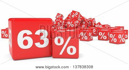 Red Sale Cubes. Sixty Three Percent Discount.