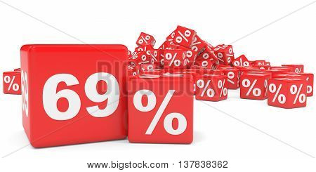 Red Sale Cubes. Sixty Nine Percent Discount.