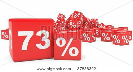 Red Sale Cubes. Seventy Three Percent Discount.