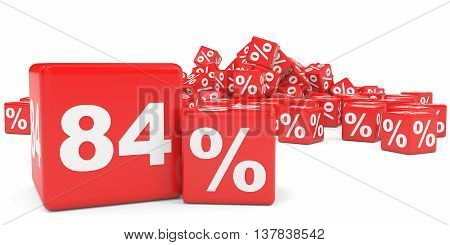 Red Sale Cubes. Eighty Four Percent Discount.