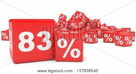 Red Sale Cubes. Eighty Three Percent Discount.