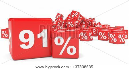 Red Sale Cubes. Ninety One Percent Discount.