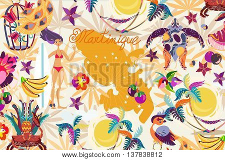 Pattern Caribbean island tropical flowers, leaves and bird hand drawn.Sea shell and palm, exotic fruits, crab.