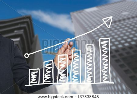Hand of businessman drawing graphics a top point growing graph to concept of investment profit in business and have skyscraper background.