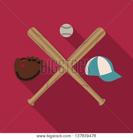 Baseball icon with two wooden baseball bats cap glove and Ball a long diagonal shadow vector illustration.
