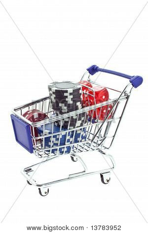 Poker Chips And Dices In Shopping Trolley