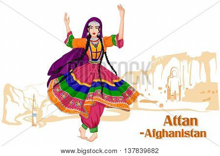 Vector design of Afghani woman performing Attan dance of Afghanistan