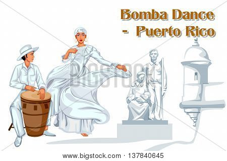 Vector design of Puerto Rican Couple performing Bomba dance of Puerto Rico
