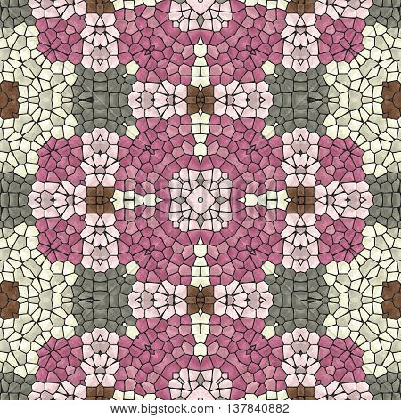 mosaic kaleidoscope seamless pattern texture background - pink gray brown colored with black grout