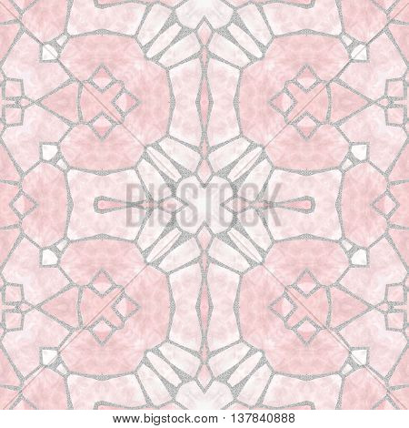 mosaic kaleidoscope seamless pattern texture background - light pink with gray grout