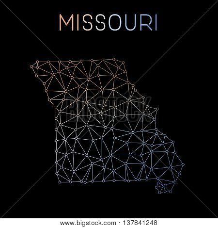 Missouri Network Map. Abstract Polygonal Us State Map Design. Network Connections Vector Illustratio