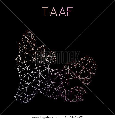 French Southern Territories Network Map. Abstract Polygonal Map Design. Network Connections Vector I