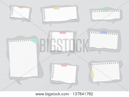 Pieces of ripped white ruled and blank notebook paper are on gray speech bubbles.