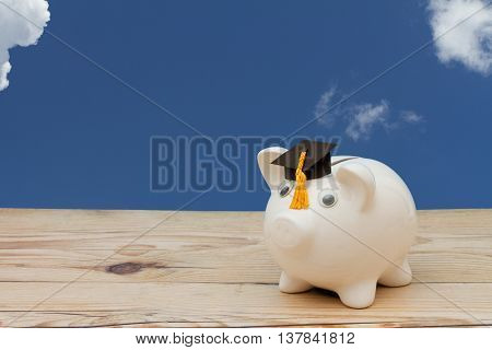 Added to your Educational Saving A white piggy bank with grad cap on weathered wood with sky background