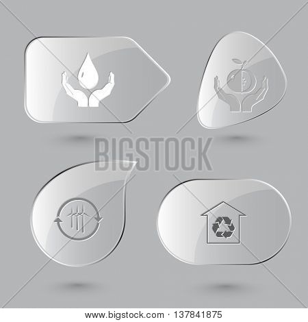 4 images: protection blood, apple in hands, wind turbine, protection of nature. Ecology set. Glass buttons on gray background. Vector icons.