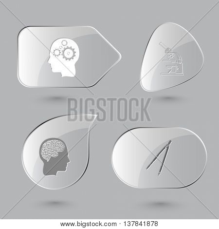 4 images: two human brains, lab microscope, caliper. Education set. Glass buttons on gray background. Vector icons.