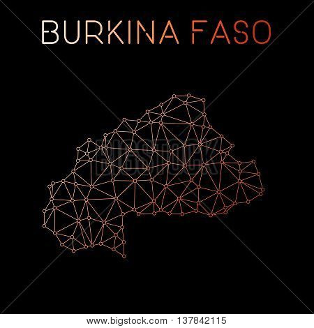 Burkina Faso Network Map. Abstract Polygonal Map Design. Network Connections Vector Illustration.