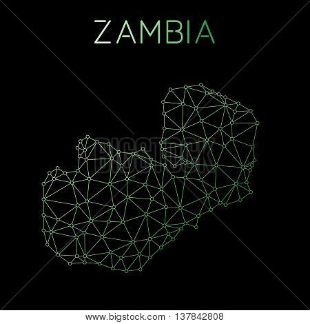 Zambia Network Map. Abstract Polygonal Map Design. Network Connections Vector Illustration.