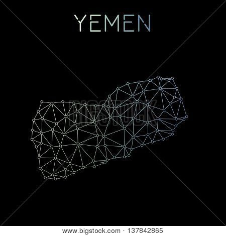Yemen Network Map. Abstract Polygonal Map Design. Network Connections Vector Illustration.