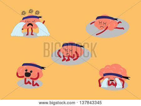 brain cartoon character vector illustration showing depress emotion or very sad in different actions (conceptual image about each person expressing his sadness on different manners)
