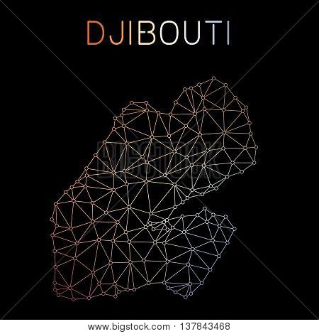 Djibouti Network Map. Abstract Polygonal Map Design. Network Connections Vector Illustration.