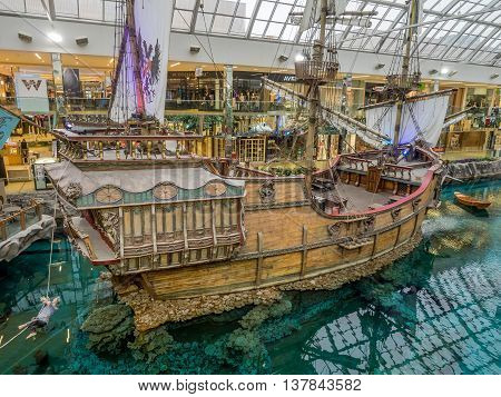 EDMONTON, CANADA - MAY 21: West Edmonton Mall wood galleon attraction on May 21, 2016 in Edmonton, Alberta. The West Edmonton Mall was once the largest mall in the world.