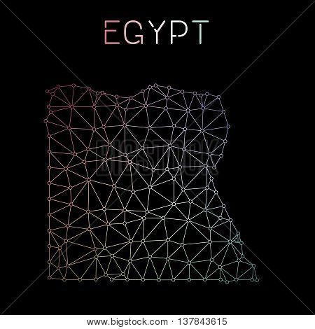 Egypt Network Map. Abstract Polygonal Map Design. Network Connections Vector Illustration.