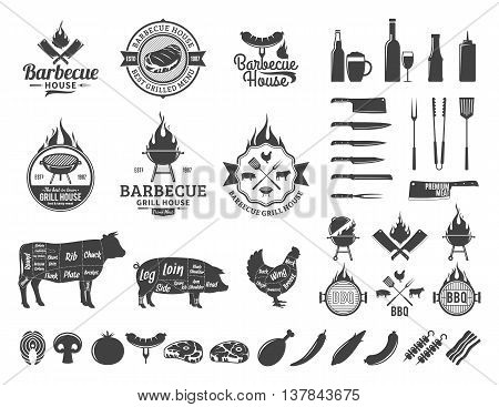 Barbecue logo and labels. BBQ meat vegetables beer wine and equipment icons for cafe bar and restaurant menu brandign and identity.