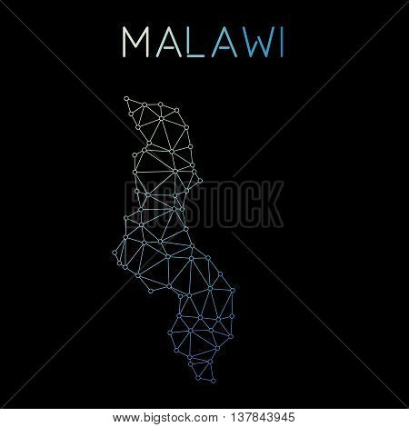 Malawi Network Map. Abstract Polygonal Map Design. Network Connections Vector Illustration.