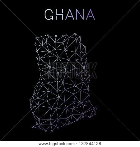 Ghana Network Map. Abstract Polygonal Map Design. Network Connections Vector Illustration.