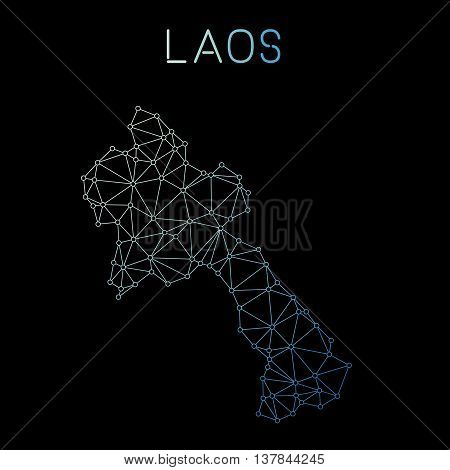 Lao People's Democratic Republic Network Map. Abstract Polygonal Map Design. Network Connections Vec