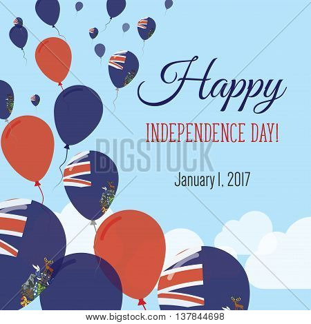 Independence Day Flat Greeting Card.. South Georgia And The South Sandwich Islands Independence Day.