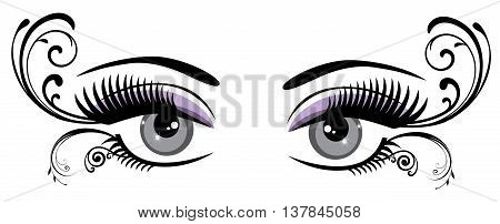 vector illustration of vintage eyes with long lashes