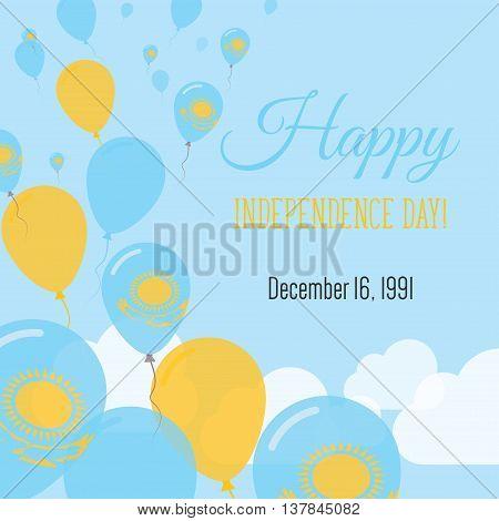 Independence Day Flat Greeting Card. Kazakhstan Independence Day. Kazakhstani Flag Balloons Patrioti