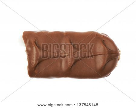 Coconut filled chocolate bar isolated over the white background
