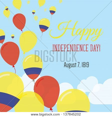 Independence Day Flat Greeting Card. Colombia Independence Day. Colombian Flag Balloons Patriotic Po