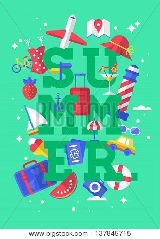 Summer holiday lettering poster design with flat modern icons