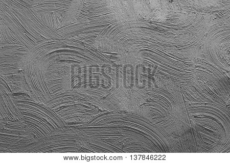 Texturized grey putty. Vintage or grungy background of venetian stucco texture as pattern wall
