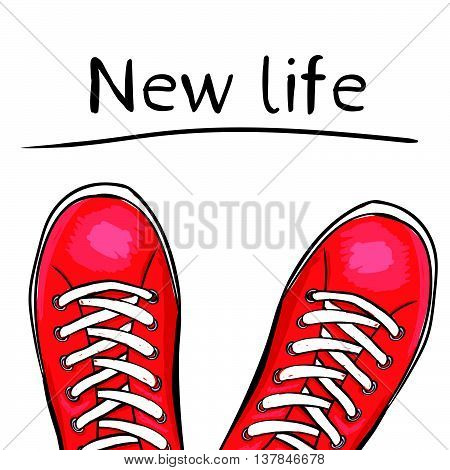 Summer trendy sports shoes. Feet in sport shoes the sneakers before you feature a new life. Vector illustration